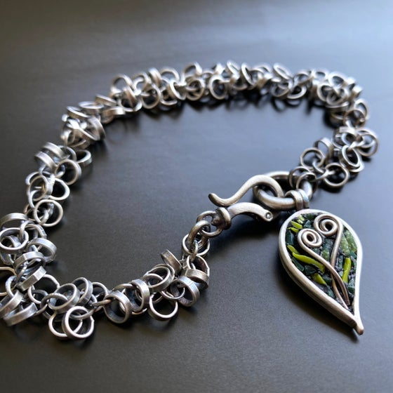 Image of Leaf and Fiddlehead Bracelet (Removable Charm)