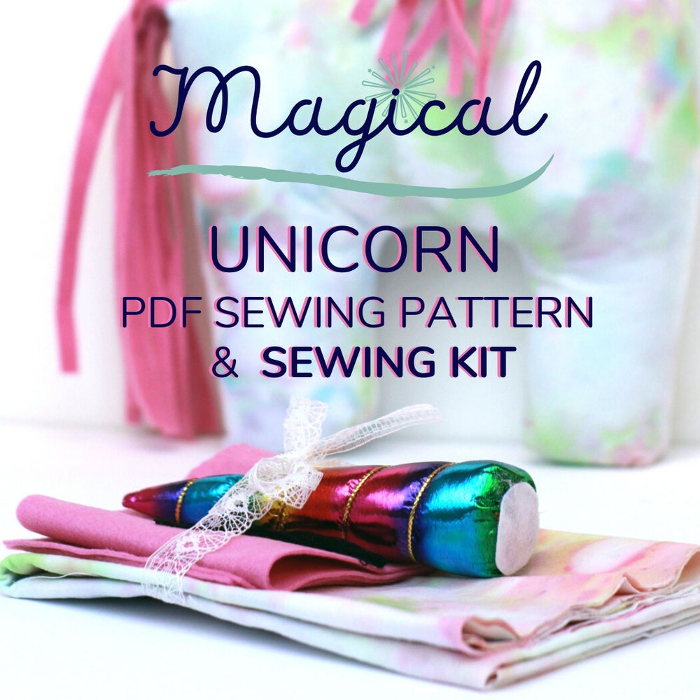 Image of Pastel Tie Dye Magical Unicorn Sewing Kit with Digital Pattern