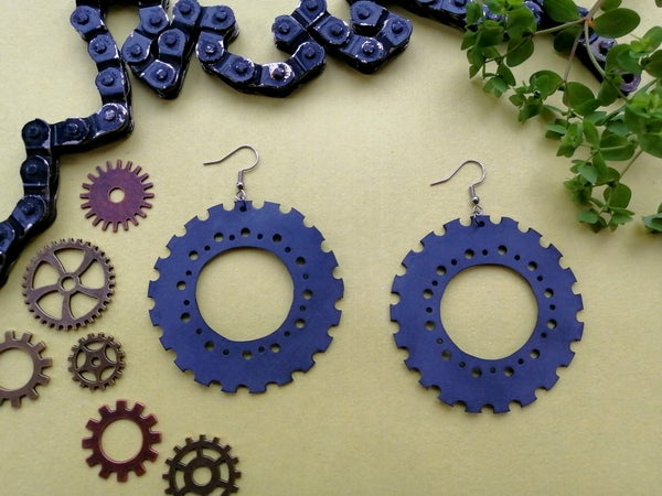 """Image of Upcycled rubber earrings """"Industry 3"""""""