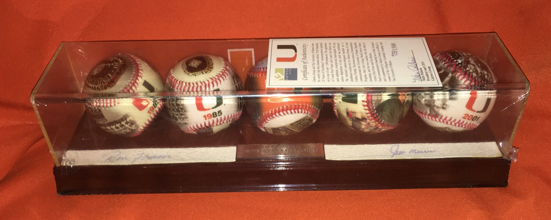 Image of Limited Edition Ron Fraser / Jim Morris Signed Commemorative 5 Baseball Set