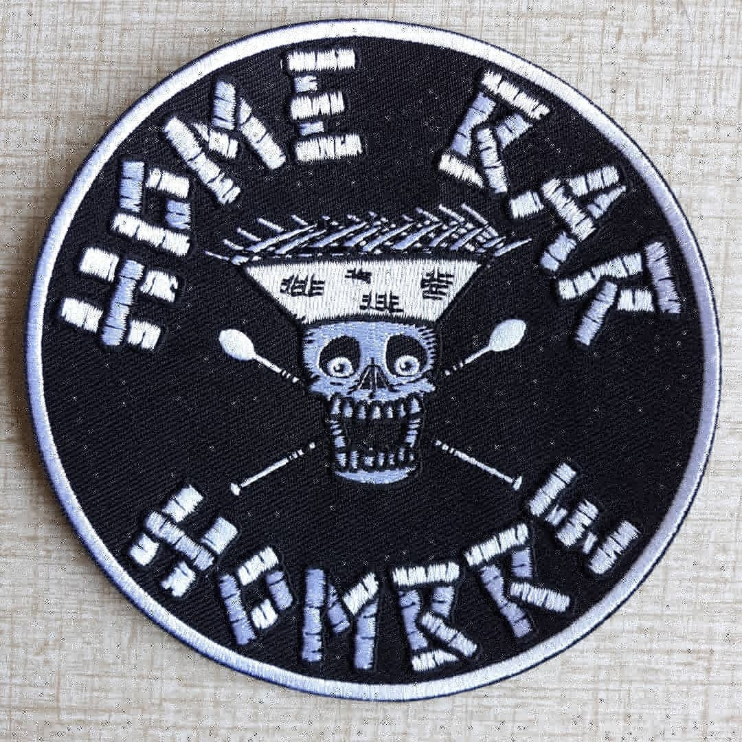 "HOME BAR HOMBRE 5"" Embroidered Iron/Sew-On Biker Style Patch"