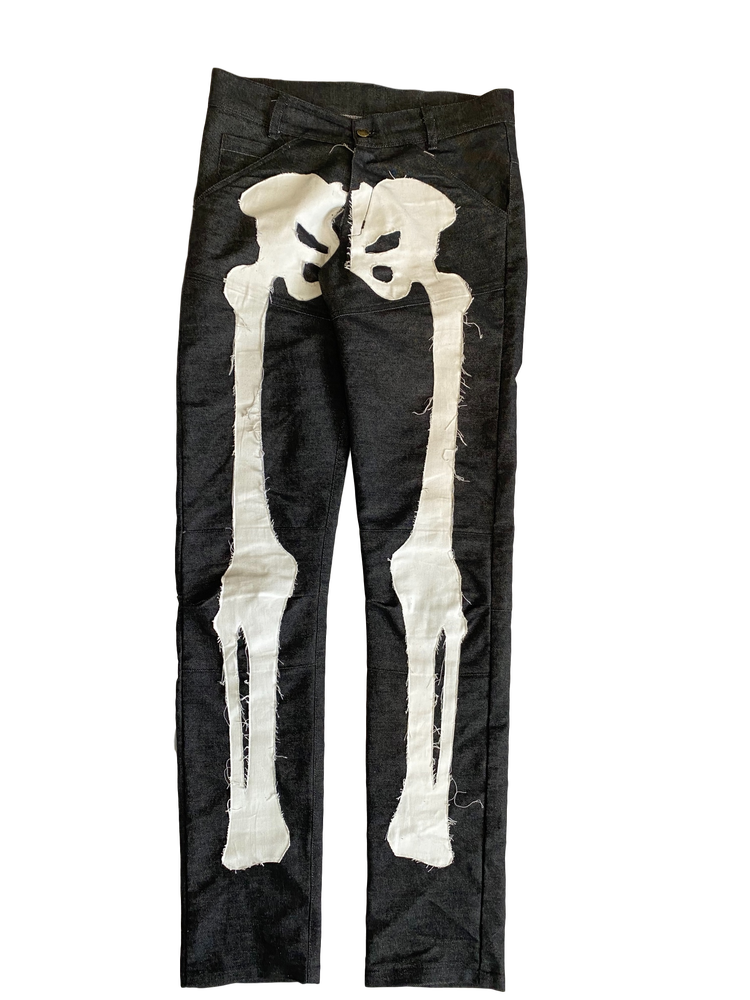 Image of RAW BLACK BIKER BONES DENIM JEANS