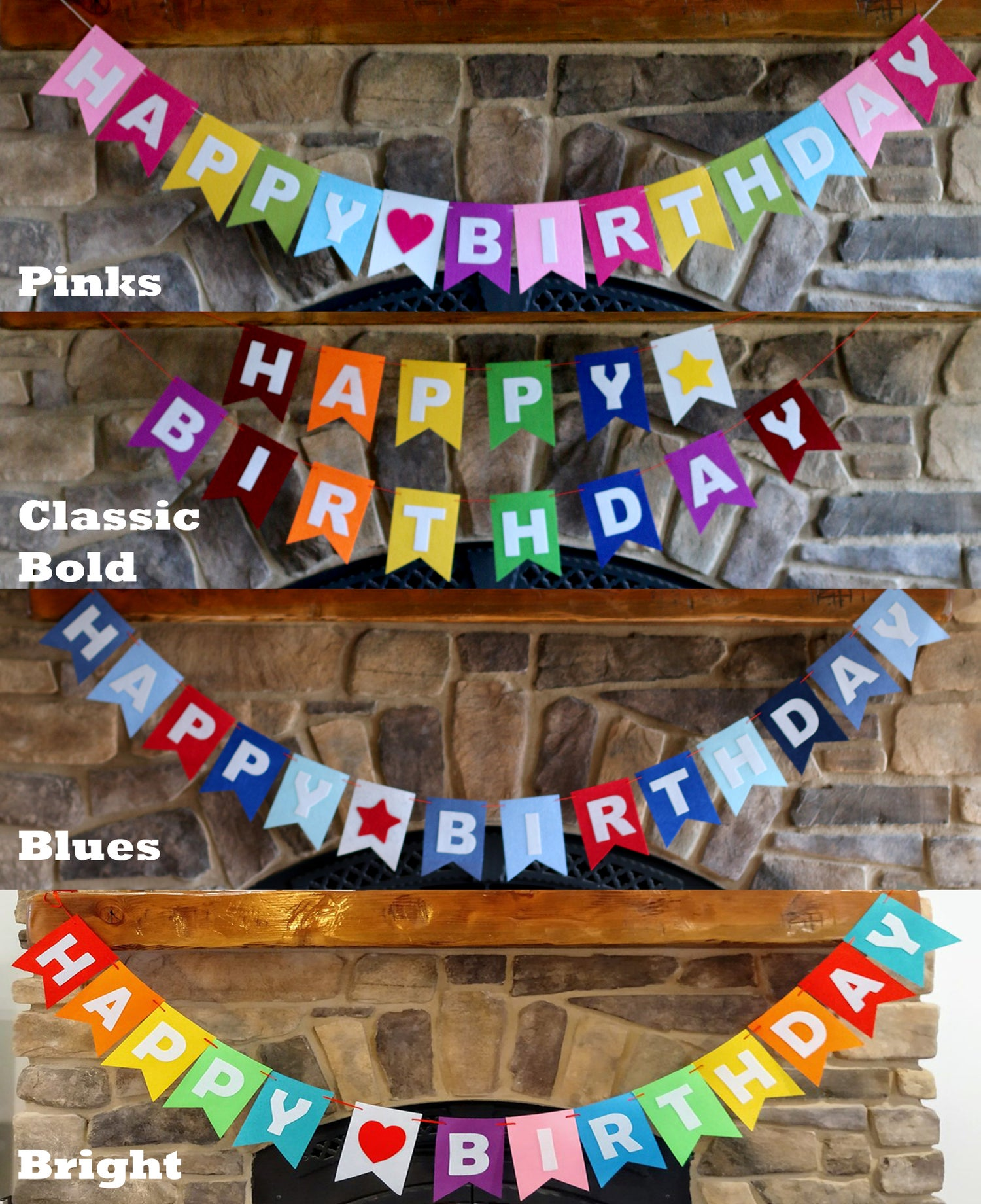 Image of Happy Birthday Felt Reusable Banner | 4 Styles
