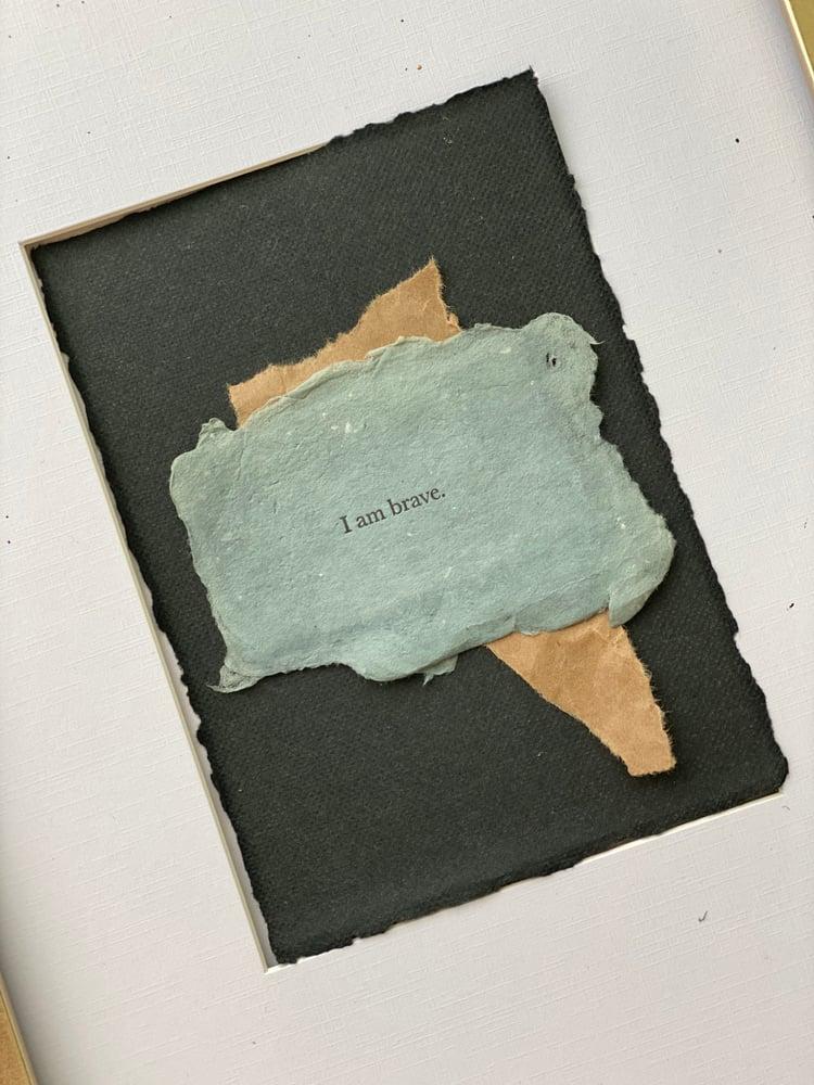Image of I Am Brave • Affirmation Art 5x7 Black Handmade Paper