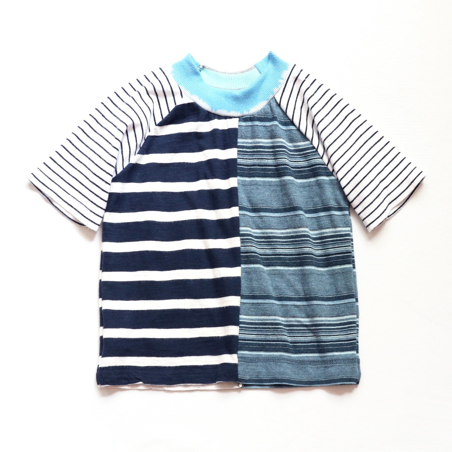 Image of blue superstripe stripes 4T The courtneycourtney TEE shirt unisex top patchwork boys tshirt tees eco