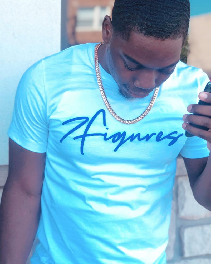 "Image of 7 Figures ""Script"" Unisex Tee Royal Blue"