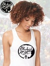 White Racerback Tank with  Blackgirl NYC design
