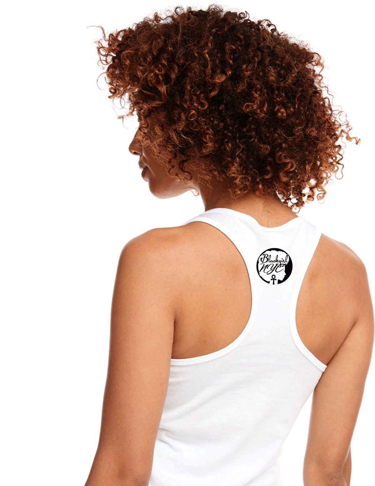 Image of White Racerback Tank with  Blackgirl NYC design