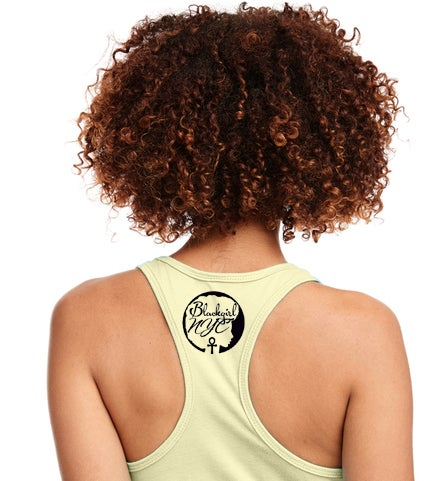 Image of Yellow Racerback Tank with Blackgirl NYC design