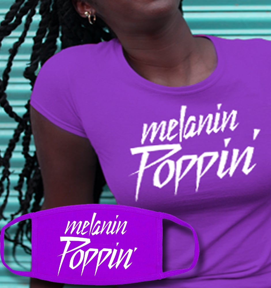 Image of Melanin Poppin purple Face Mask