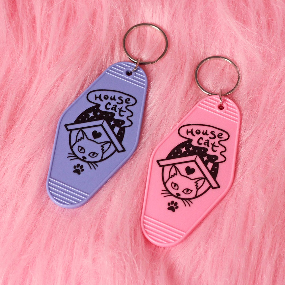 Image of House Cat retro motel / hotel keyring - key tag - introvert - pink or purple key chain