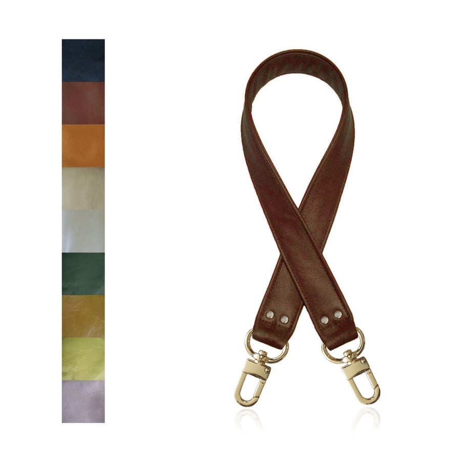 "Image of ON SALE! Genuine Leather Bag Strap - 1.5"" Wide with Gold #16XLG Clips - Choose Length/Leather Color"