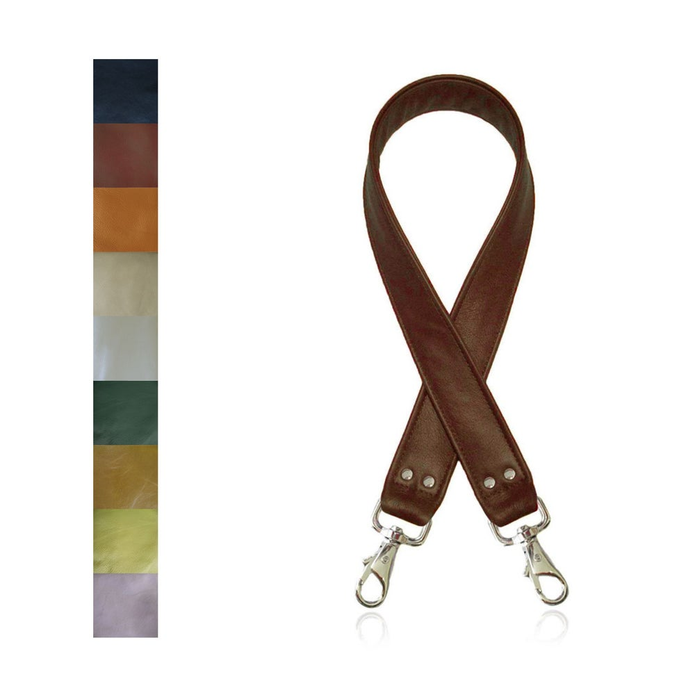 "Image of ON SALE! Genuine Leather Bag Strap - 1.5"" Wide with Nickel #6 Clips - Choose Length/Leather Color"