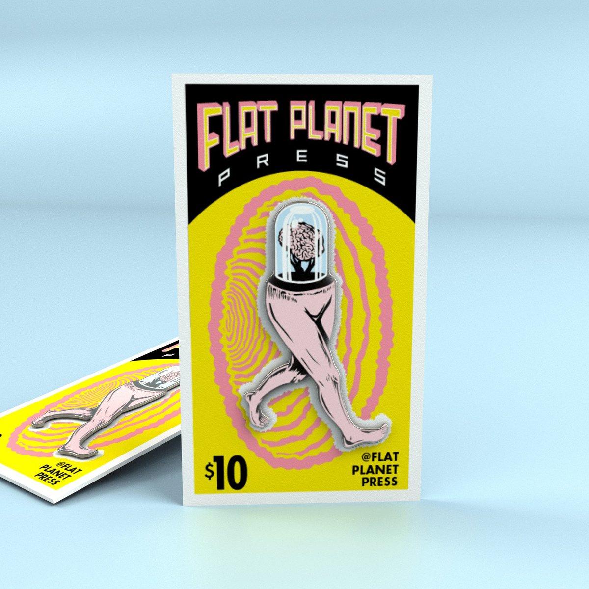 """Flat Planet """"Brain Walker"""" Enamel Pins"""