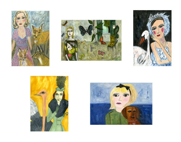 Image of Beasts and Beauties greeting cards.