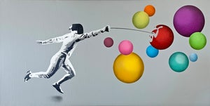 "Image of ""Fencer vs Bubbles"" Number 10/10 on 40x80cm Double Deep Edge Canvas"