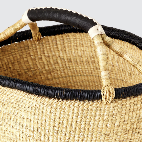 Image of Straw Basket With Black Rim