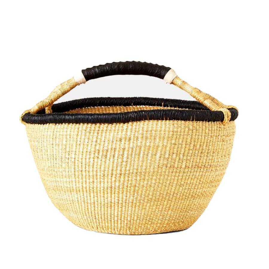 Image of Straw Basket With Black Rim