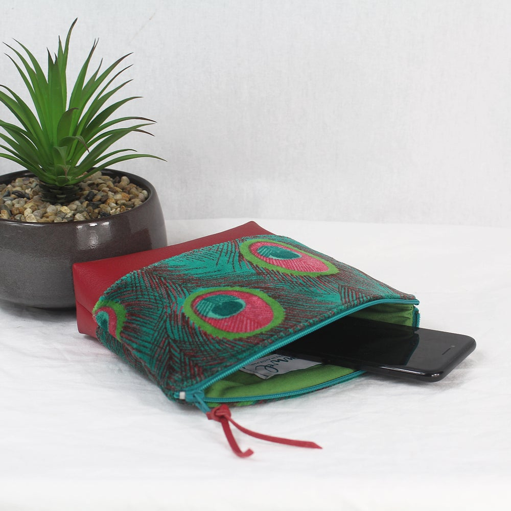 Image of Curved Purse - Velvet Peacock Green