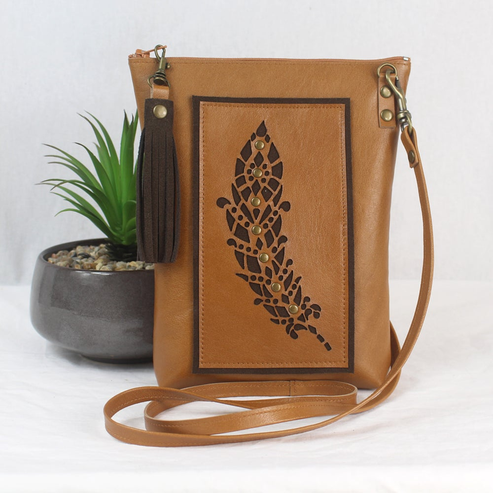 Image of Leather Dance Bag - Feather Tan & Brown