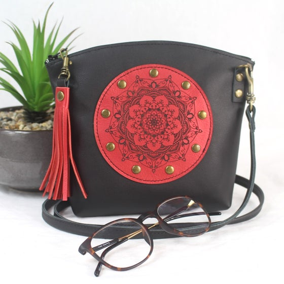 Image of Leather Dance Bag - Curved Mandala Black & Red