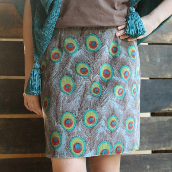 Image of Velvet Skirt - Peacock Brown