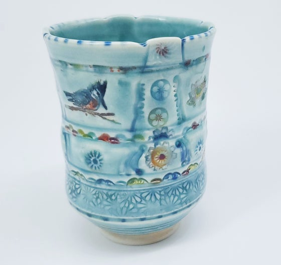 Image of Kingfisher with Lotus Porcelain Tea Tumbler