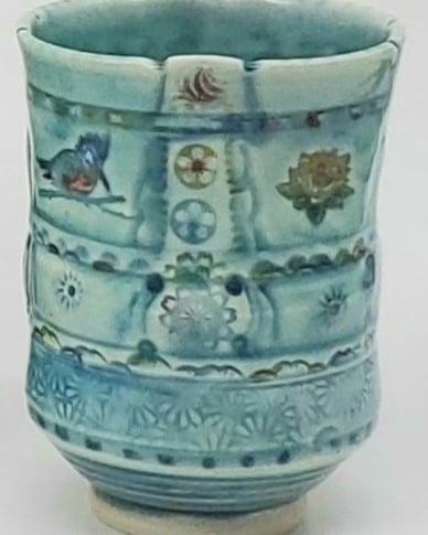 Image of Kingfisher with Lotus Porcelain Tea Tumbler