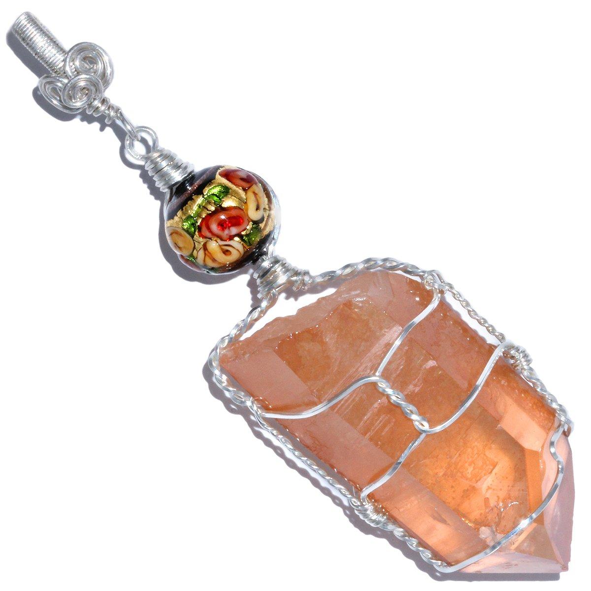 Tangerine Quartz Pendant with Venetian Glass Bead