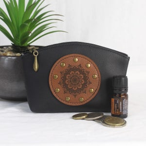 Image of Leather Curved Purse - Mandala Black & Tan