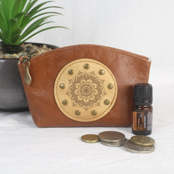 Image of Leather Curved Purse - Mandala Tan & Bronze
