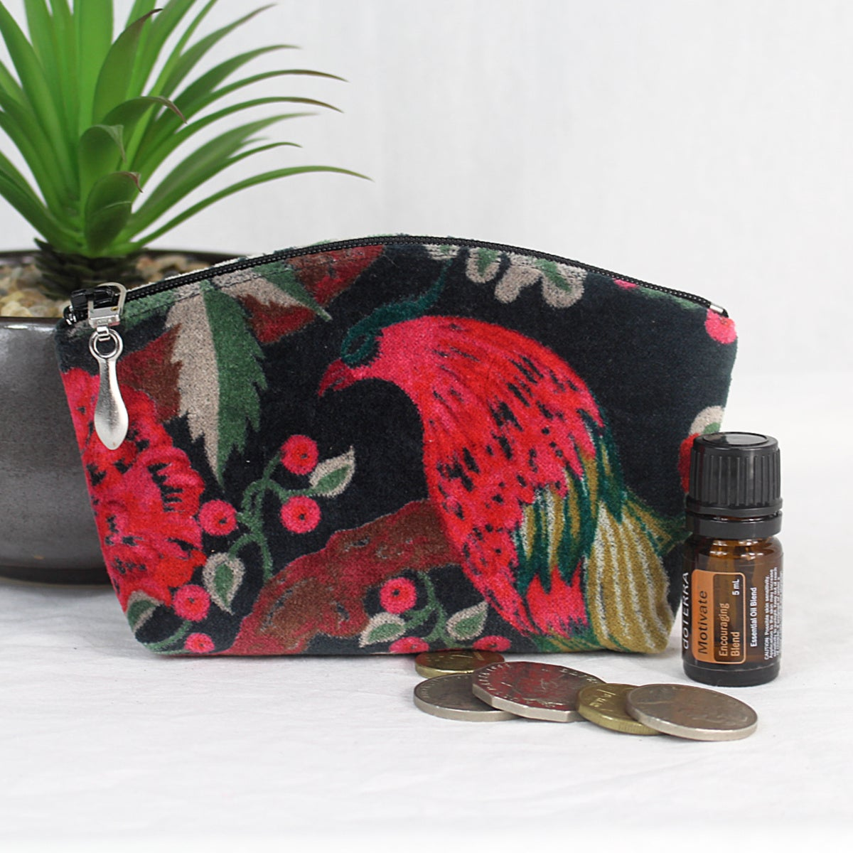 Image of Mini Velvet Curved Purse - Black Bird