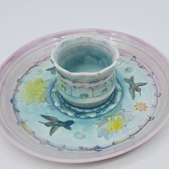 Image of Hummingbird Lotus Pond Porcelain Dish