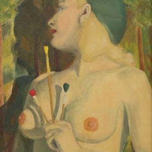Image of 1950's, Swedish Portrait Painting, 'Artist's Model.'