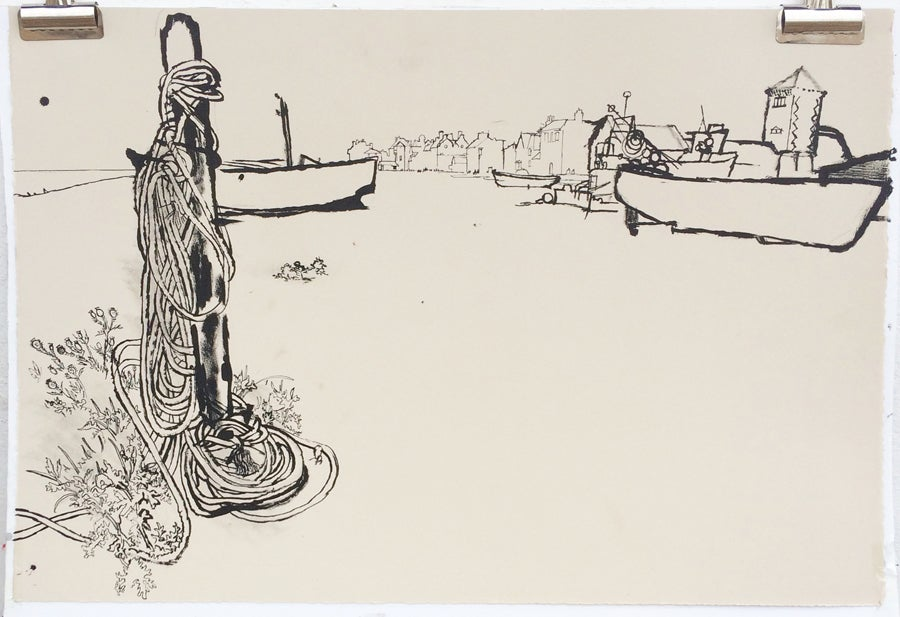 Image of Rusty pole and Aldeburgh boats