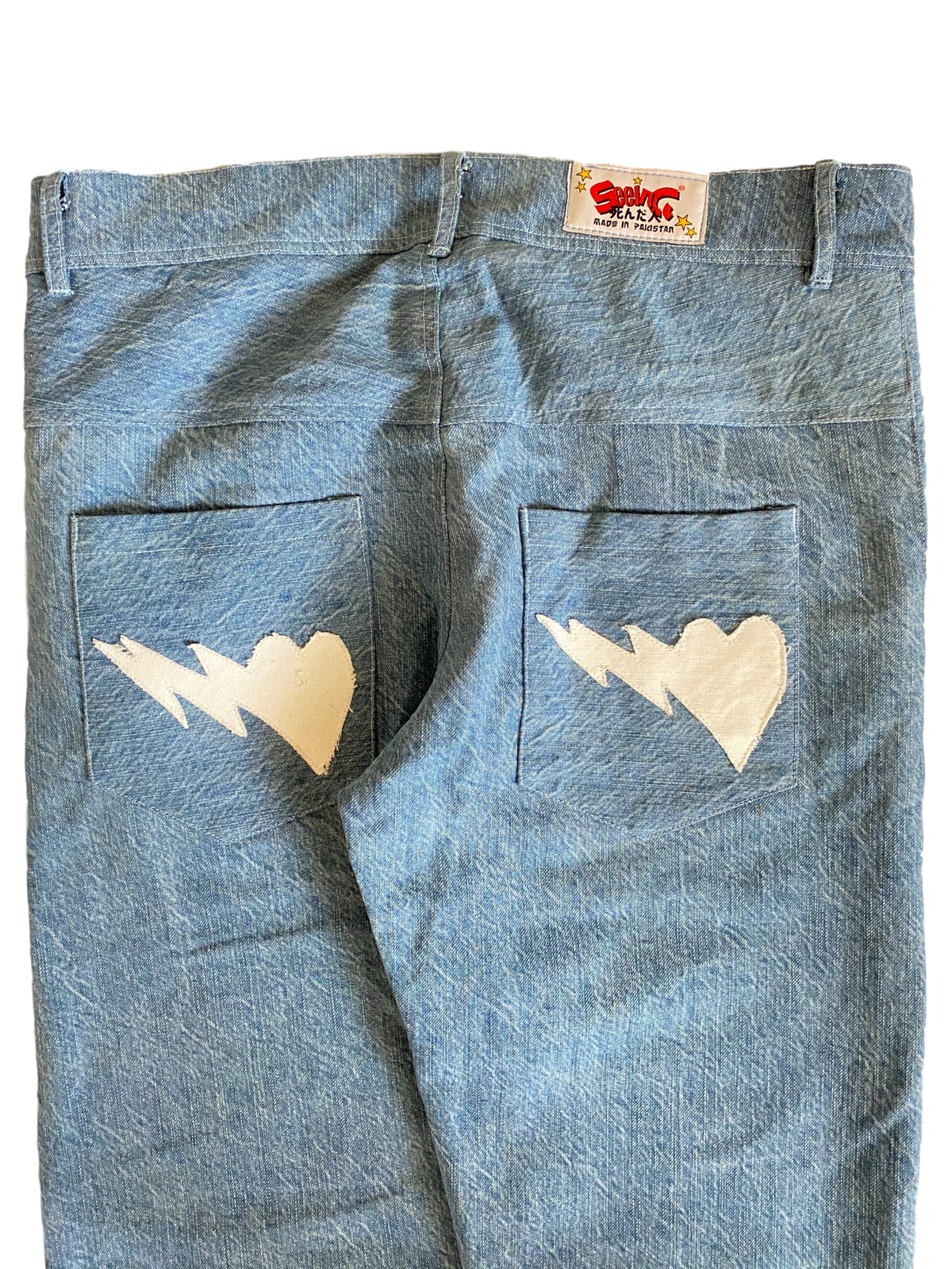 Image of MARBLE WASH LIGHT BLUE BIKER BONES DENIM JEANS