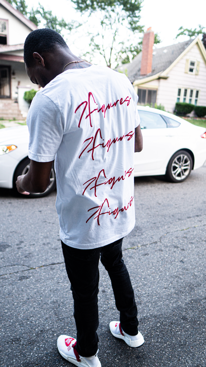"""Image of 7 FIGURES """"STACKED FIGURES"""" UNISEX RED TEE"""