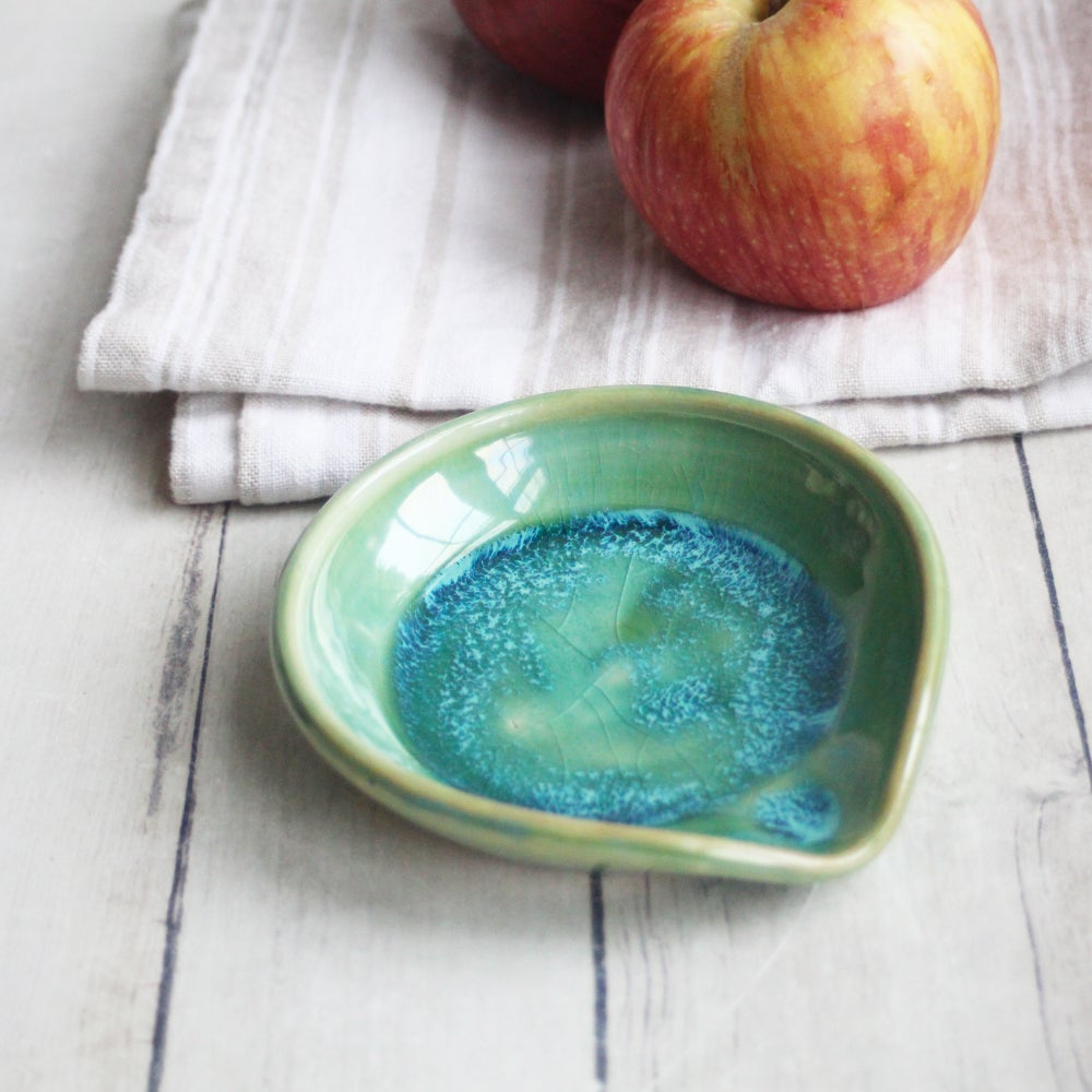 Image of Small Spoon Rest in Shimmering Green Glaze, Handcrafted Coffee Spoon Dish, Made in USA