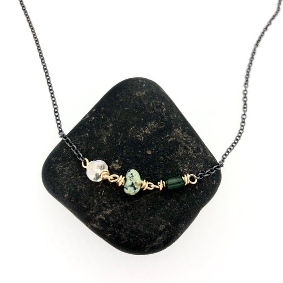 Image of tourmaline, variscite, and rainbow moonstone necklace