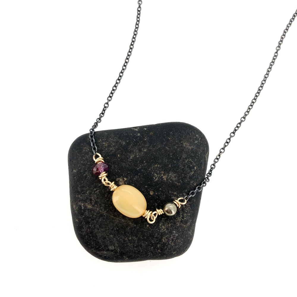 Image of sapphire, opal and pyrite gemstone necklace