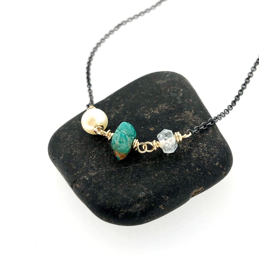 Image of pearl, turquoise, and rainbow moonstone necklace