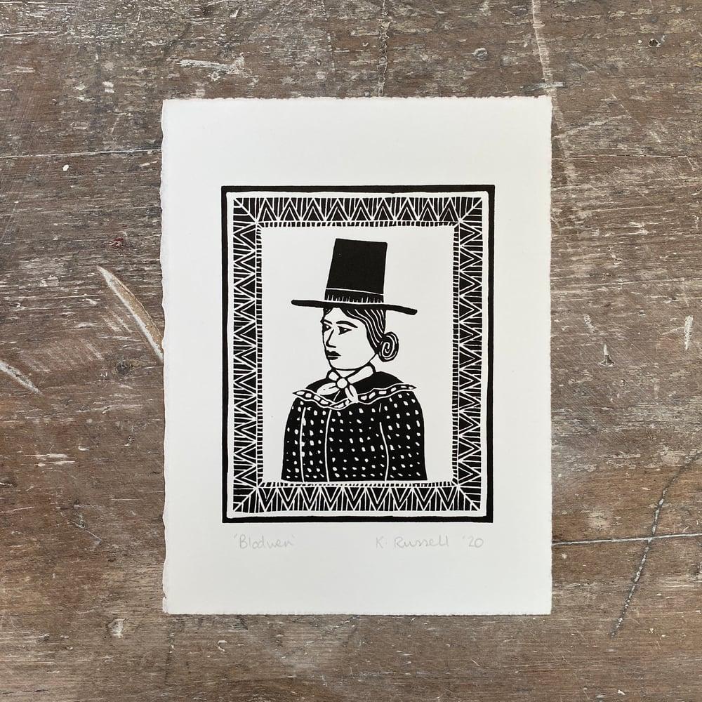 Image of 'Blodwen' Linoprint