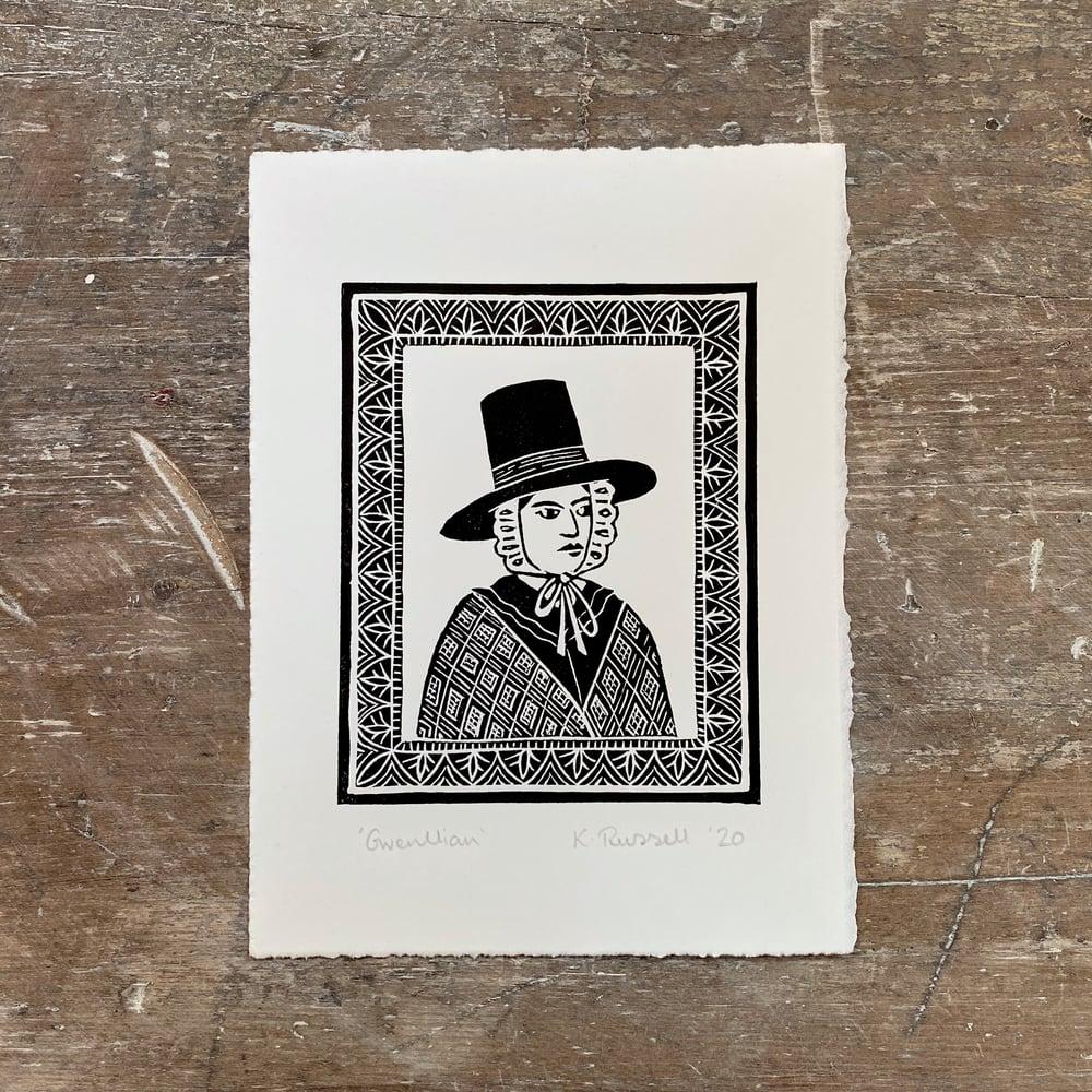 Image of 'Gwenllian' Linoprint