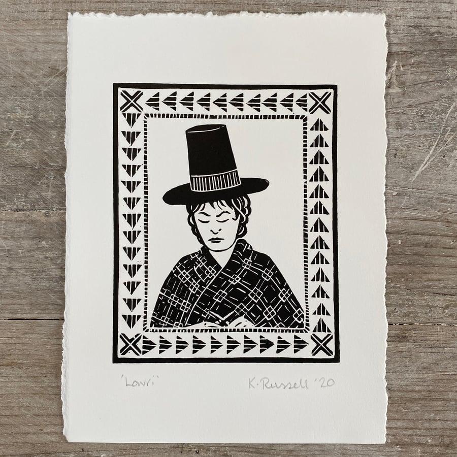 Image of 'Lowri' Linoprint