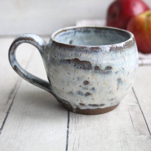 Image of White Glazed Mug on Toasted Brown Speckled Stoneware 13 oz. Made in USA