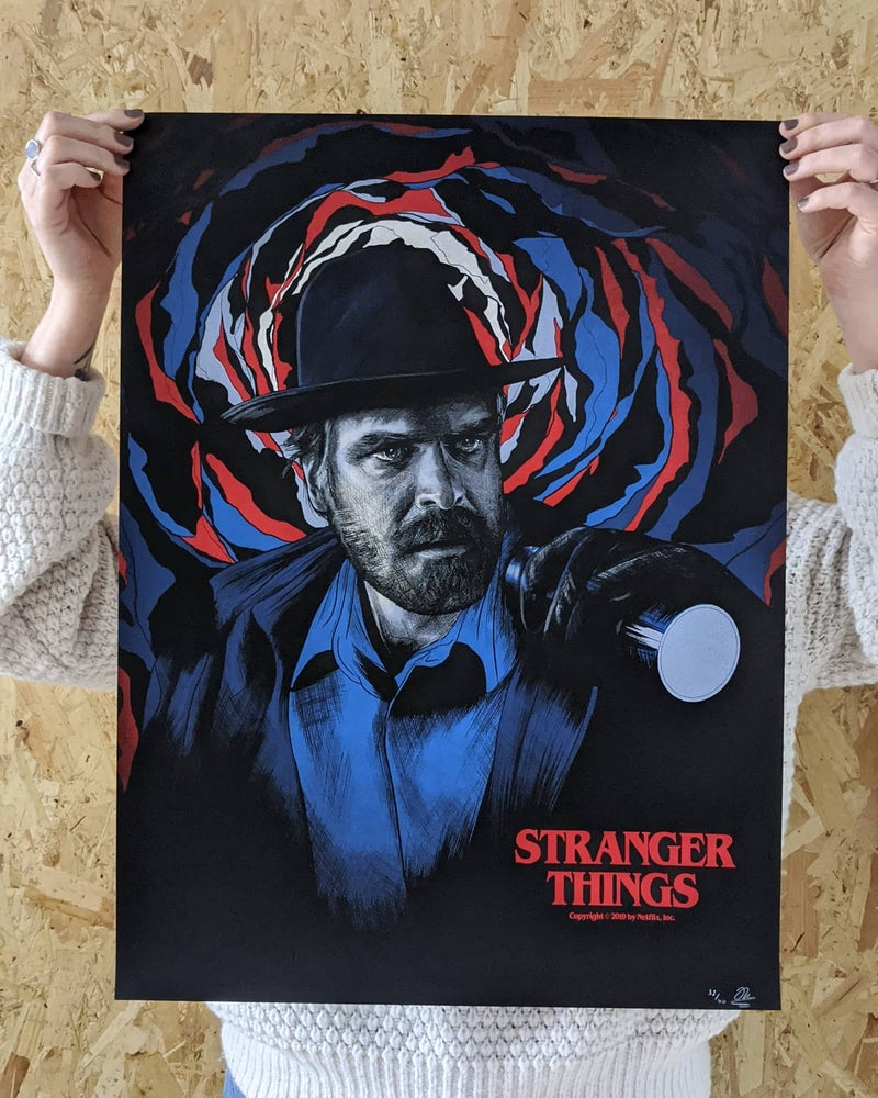 Image of 'Hopper' Official Netflix Stranger Things Screenprint