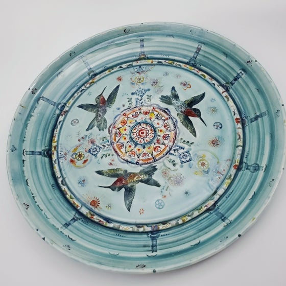 Image of Ruby Throated Trio Porcelain  Serving Plate