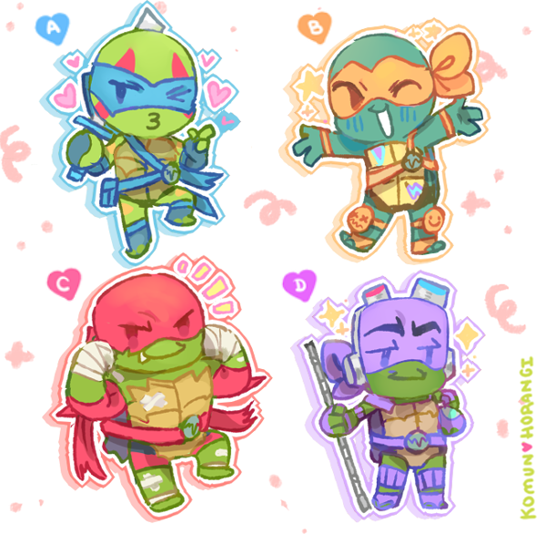 """Image of Rise of the TMNT 2"""" Acylic Charms"""