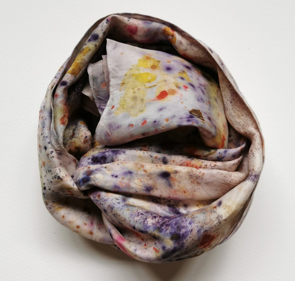 Image of ECO PRINTED SILK TWILL SCARF (SKU: ST12)