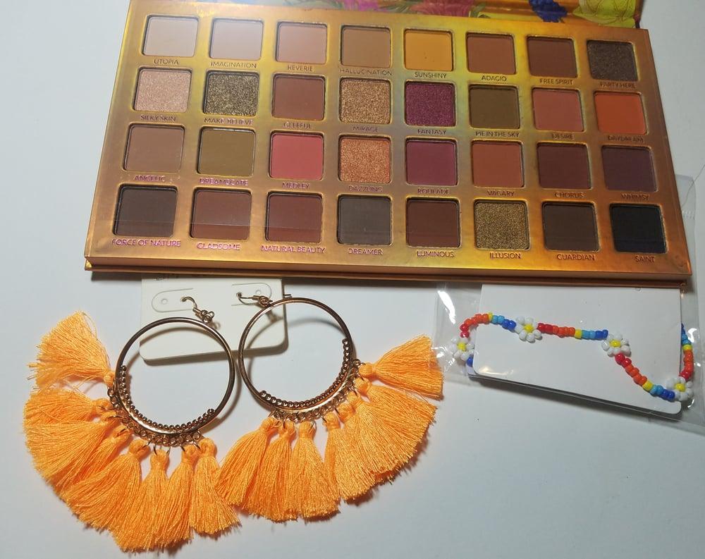 Tangerine Tassel Hoops & Nude Palette Bundle
